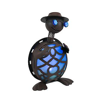 Rustic Finish Metal Art Turtle in Hat and Sunglasses Solar Powered LED Light Garden Statue