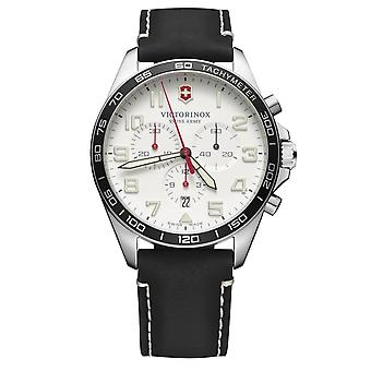 Victorinox Swiss Army Fieldforce Chronograph White Dial Black Leather Strap Men's Watch 241853 RRP £340