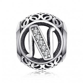 Encanto de prata esterlina com zirconia stones carta n - 5189