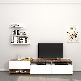 Mobile Porta TV Campbell Color Bianco, Legno in Truciolare Melaminico 180x28,4x40 cm