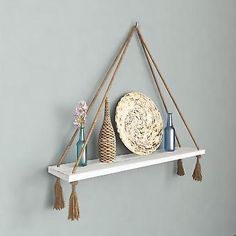 Halatli Regal weiße Farbe, Ecru Holz, Juta, L75xP15xA25 cm