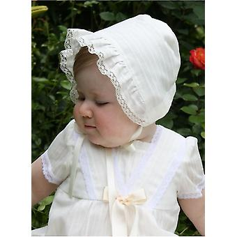 Christening Bonnet Grace-old Memories In Off White Cotton Batist From Grace Of Sweden