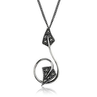 Art Nouveau Style Round Marcasite Leaf Pendant Necklace in 925 Sterling Silver 214N539301925