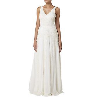 V-ringad klänning med pärlstav pärlor