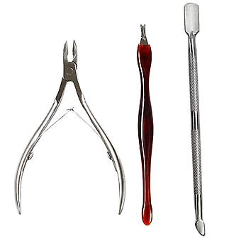 Stainless Steel Nipper Fork - Cuticle Pusher, Nails Cutter, Scissor, Dead Skin
