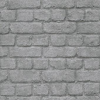 3D effect baksteen muur Stone Optic wallpaper zilver chroom metallic glans Rasch