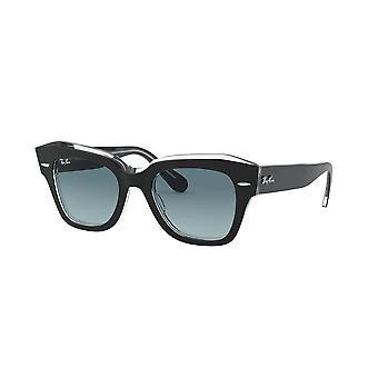 راي بان الدولة شارع RB2186 1294/3M الأسود على Trasparent / الأزرق التدرج الرمادي النظارات الشمسية