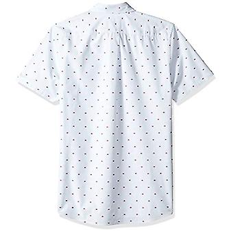 Goodthreads Men's Standard-Fit Short-Sleeve Dobby Camicia, -blu striscia Granchi, ...