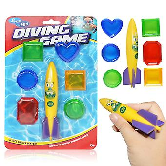 Summer Shark Rocket Diving Throwing Funny Swimming Pool Diving Game Toys For Children