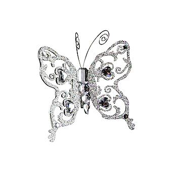 Large Gisela Graham Crystal & Glitter Butterfly Clip-On Decoration