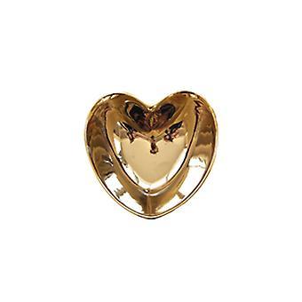 Ceramic Heart Shaped Bowl Saucers Dinnerware Golden