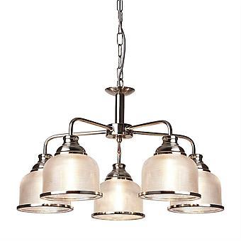Searchlight Bistro - 5 ljust flerarmad takhänge Silver, Vit, E27