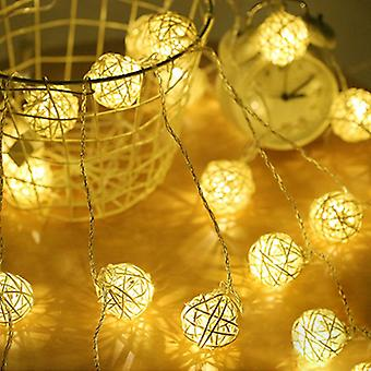 2.5m/5m 40 Led Rattan String Ball Lights For Garlands Holiday Wedding Party Dekoration