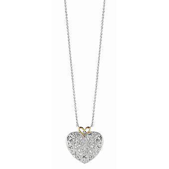925 sterling sølv 14k gull blinket gull rhodium kjede kjede kjærlighet hjerte 0.10ct hvit diamant 18 tommers smykker gaver f