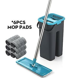 Flat Squeeze Mop And Bucket, Hand Free Wringing Floor Cleaning