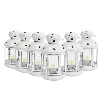 Nicola Spring Candle Lanterns Tealight Holders Metal Hanging Indoor Outdoor - 20cm - White - Set 6