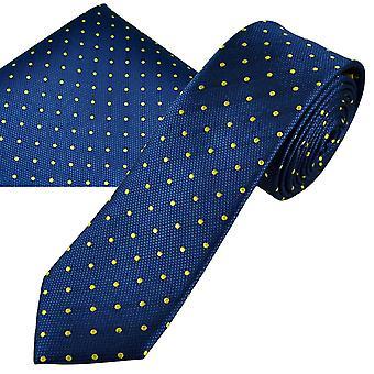 Corbatas Planeta Oro Etiqueta Royal Azul y Amarillo Polka Dot Hombres's Seda Delgada Tie & Pocket Square Handkerchief Set