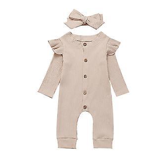 Baby forår efterår tøj-Nyfødte Baby Girl / Dreng ribbet tøj buksedragt