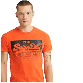 Superdry Vintage Logo Halftone Embossed T-Shirt - Grenadine