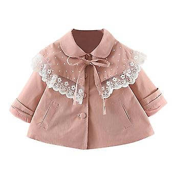 Autumn/winter Lace Ruffles And Bow Pattern-outwear Coats For Newborn Kids