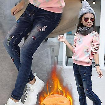 Winter Ripped Jeans, Printed, Casual Trousers, Thicken Warm