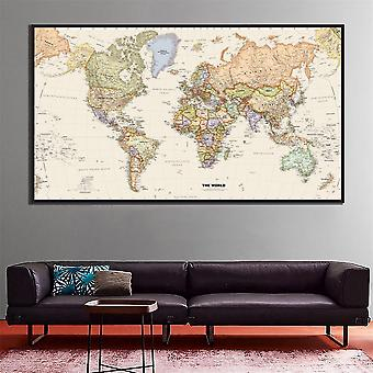 The World Physical Map Hd Canvas Painting For School, Office, Wall, Home Decor