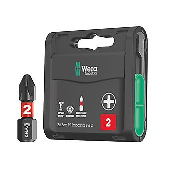 Wera Bit-Box 15 Impaktor PH2 x 25mm 15 Stykke WER057752