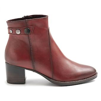 Tamaris Red Leather Ankle Boot mit mittlerer Ferse