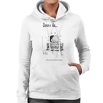 Kærlighed er den måde at slå Stress Women's Hooded Sweatshirt