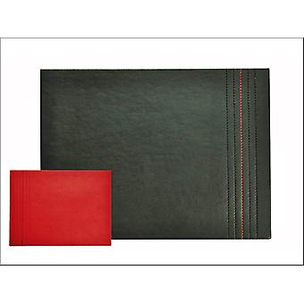 Home Living Placemats Faux Leather Red + Black Stitch x 4