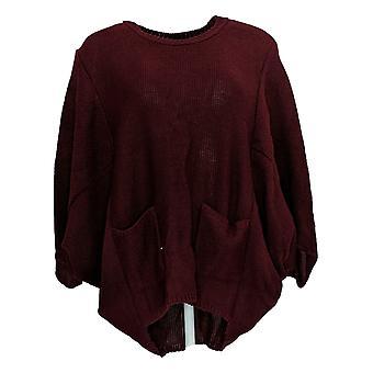 Nina Leonard Women's Sweater Red Crew Neck Pullover Acrylic 641-392