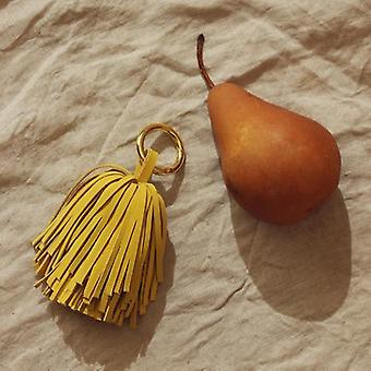 Genuine Leather Pom Tassel Bag Charm