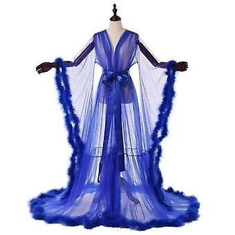 Sexy Ilusión Larga Lencería Robe Nightgown Albornoz Ropa de dormir pluma