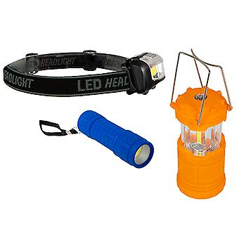 Summit Trio Light Set - Pop Up Lantern Torch and Headlight For Outdoor and Camping