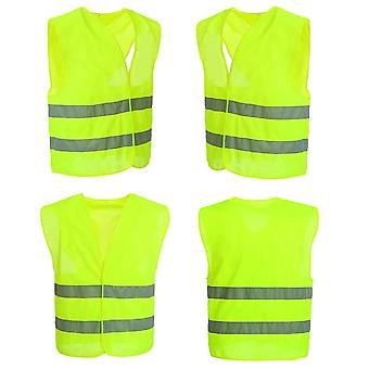 10 Pieces Safety Vest Neon Yellow Safety Vest Accident 360 Degrees Visibility Crease-resistant Washable