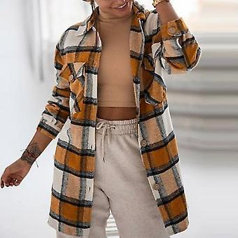 Nők Retro Kockás Print Egyetlen mellű hosszú kabátok