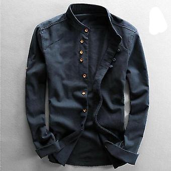 Camisas de linho de algodão masculino;apos, manga comprida, camisa de colarinho de mandarim fino casual