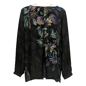 Linea Por Louis Dell'Olio Women's Top Placement Floral Peasant Negro A343028