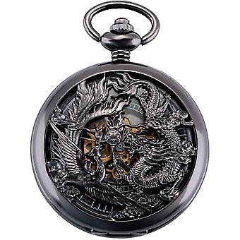 ManChDa Pocket Watch Lucky Dragon & Phoenix Vintage Mechanical Watch with Chain
