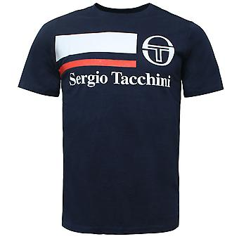 Sergio Tacchini Mens Falcade T-Shirt Grafisk logotyp Casual Navy Topp 38722 207