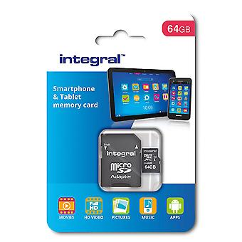 Integral 64 gb microsdxc class 10 memory card for smartphones and tablets, up to 90 mb/s, u1 rating
