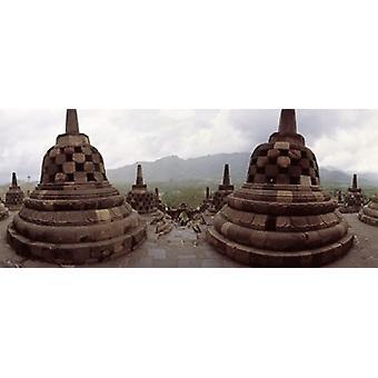 """القرن التاسع """"البوذية معبد بوروبودور"""" في """"طباعة ملصق إندونيسيا جزيرة جافا"""""""