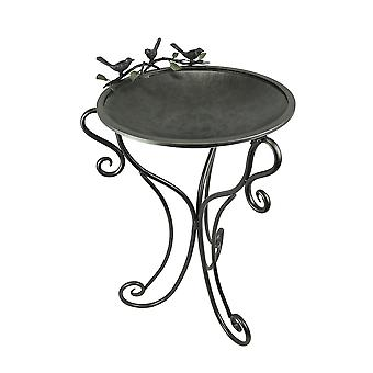 Beautiful Birds and Branches Powder Coated Metal Outdoor Birdbath 34 Inches High