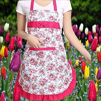 Oil-proof Cooking Apron, Adjustable Kitchen Cooking Coffee Shop Flower Printed