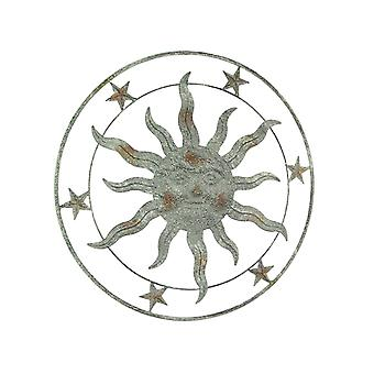 21.5 Inch Diameter Weathered Gray Finish Sun Face Wall Hanging