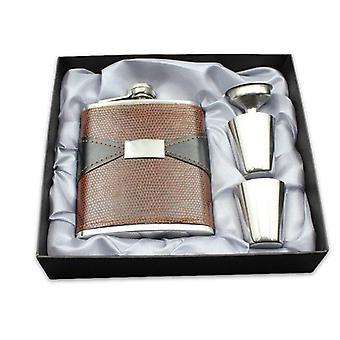 7oz rustfritt stål bærbar whisky hip kolbe forhud preget pot PU skinn mini mugge flasker