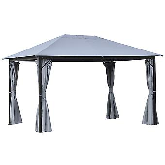 Outsunny 4 x 3(m) Outdoor Gazebo Canopy Party Tent Garden Pavilion Patio Shelter with Curtains, Netting Sidewalls, Grey