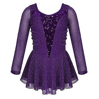 Nové děti Lesklé stretchy sametové kolečkové bruslení šaty Figure Tutu Dance Wear
