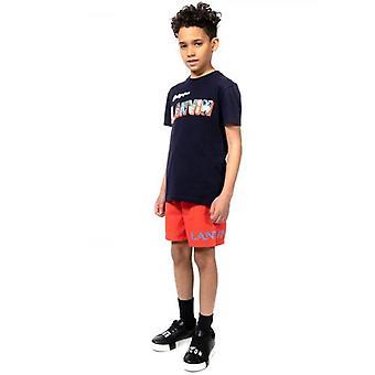 Lanvin Kids Navy Logotipo gráfico Imprimir camiseta de algodão