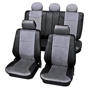 Dunkelgrau Luxus Auto Sitzbezüge in Leatherette & Velour